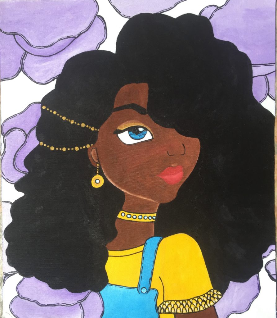 A watercolour painting of a black girl with black hair and blue eyes. In her hair there are two gold hair pieces, and she is wearing gold earrings and a choker. She is wearing a yellow shirt and blue overalls. In the background there are purple clouds.