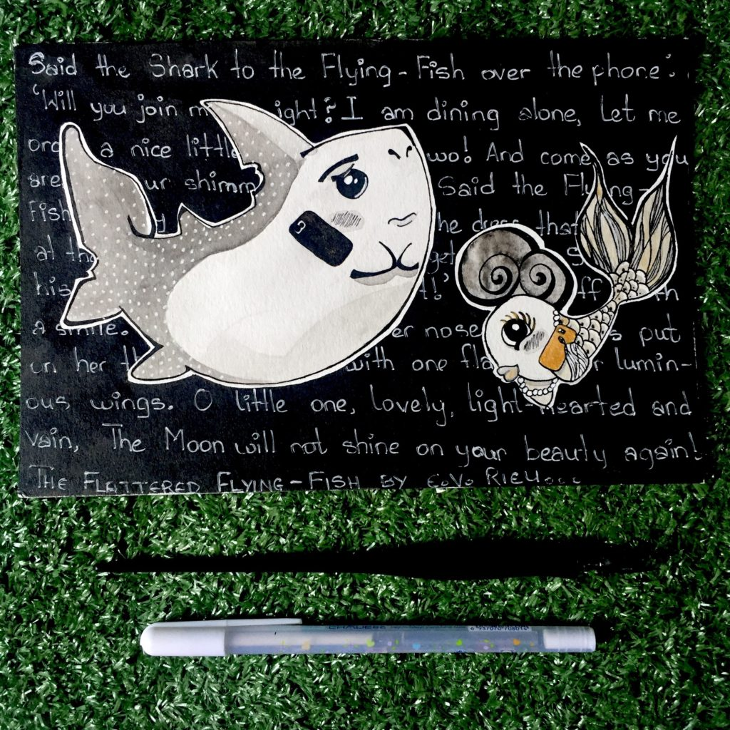 At the top is a black and white illustration of a shark on the left, and a fish on the right. Behind the two animals is a black background, with a story written in white pen about a dinner they shared together. The illustration is captured on top of grass, above two pens laid below it.