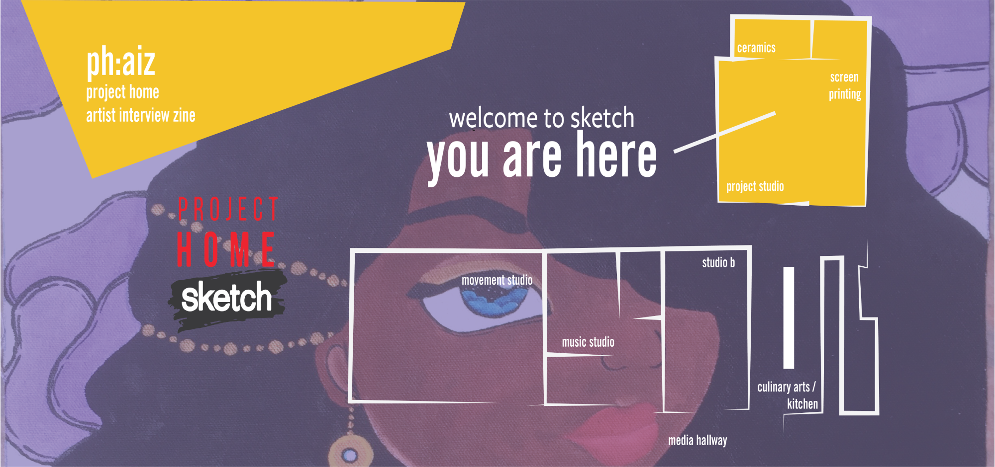 "Graphic of PH:AIZ Zine series. Leanne's artwork is overlapped by SKETCH'S project home logo on the centre left, and the text: ""Welcome to sketch: You are here: "" surrounded by a linear blue print map of the sketch studios."