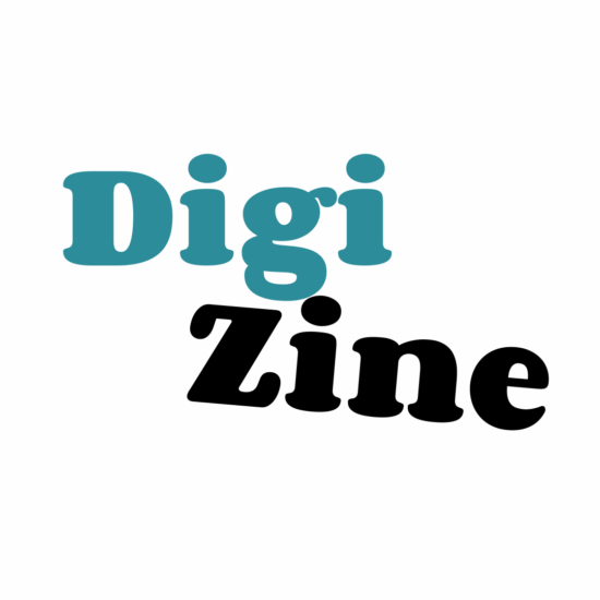 A logo with text that reads Digi in the colours teal blue and Zine in the colour black